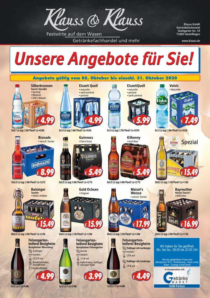 Angebote Okotber Klauss und Klauss Getränkemarkt Sindelfingen Gärtringen