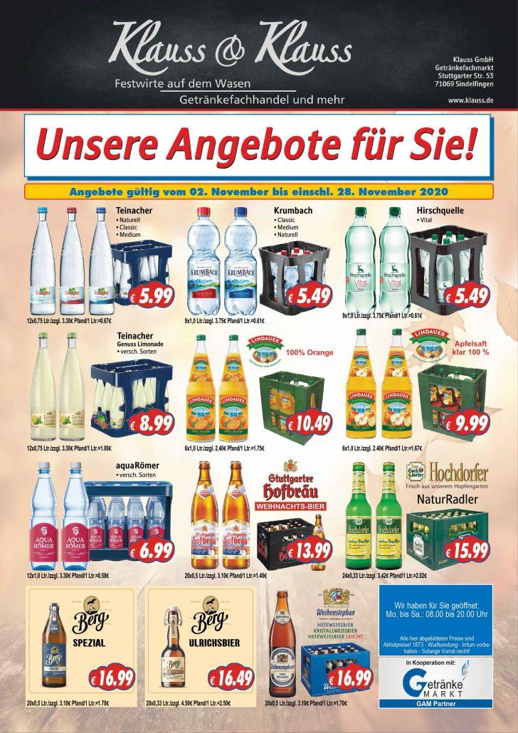 Angebote Nov 2020 - Getränkemarkt Klauss Sindelfingen Gärtringen