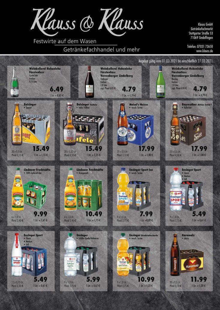 Angebote März Getränke Klauss Maichingen Gärtringen